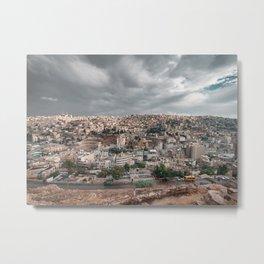 Overlooking the city of Amman in Jordan with Roman Theatre seen from Citadel Metal Print