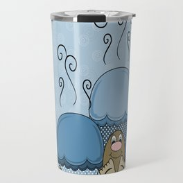 Cute Monster With Blue Frosted Cupcakes Travel Mug