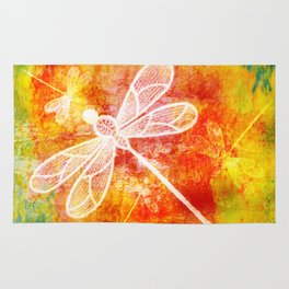 Dragonfly in embroidered beauty Rug
