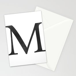 Letter M Initial Monogram Black and White Stationery Cards