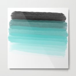 Blue brush abstract art stripes Metal Print