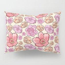Modern botanical blush pink coral pastel yellow floral illustration Pillow Sham