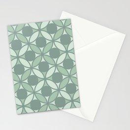 Geometric Orbital Spot Circles - Sage Green Stationery Cards