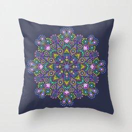 Dot Mandala Brights Throw Pillow