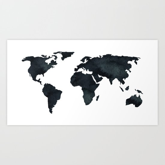 World Map Black Watercolor Ink Art Print