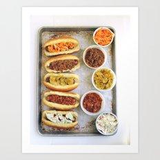 Hot Dogs 5 Ways Art Print