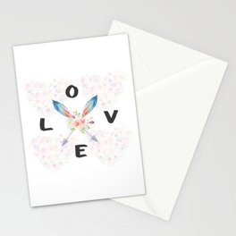 Watercolor Roses Arrows Love Typography Stationery Cards