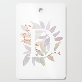 Floral Initial D - Rustic Watercolor Letter - Typography - Wreath Design Cutting Board