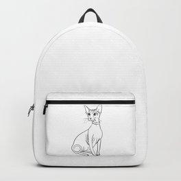Elegant Sphynx Kitty - Line Art - Minimal Black and White Backpack