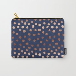 Rose Gold navy polka dot painted metallic pattern basic minimal pattern print Carry-All Pouch