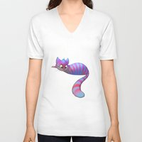 cheshire cat V-neck T-shirts featuring Cheshire Cat by Chelsea Kenna