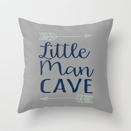 Little Man Cave - Gray, Navy, Mint Throw Pillow