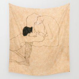Egon Schiele Lovers Wall Tapestry