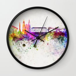 Minsk skyline in watercolor background Wall Clock