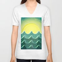 notebook V-neck T-shirts featuring Sun and sea by Katherine Paulin