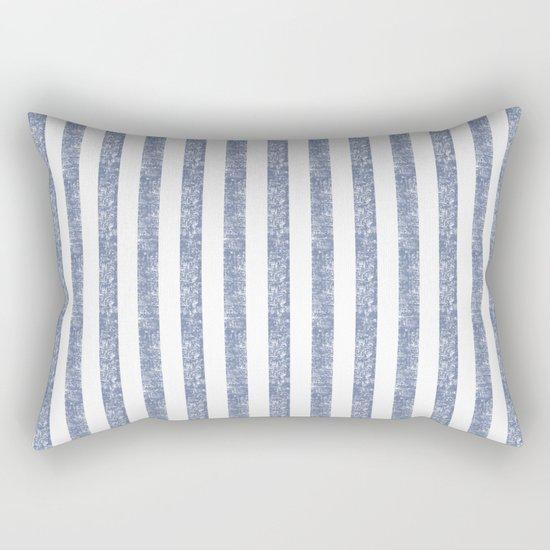 Maritime Beach Pattern- Blue and White Stripes- Vertical - Rectangular Pillow
