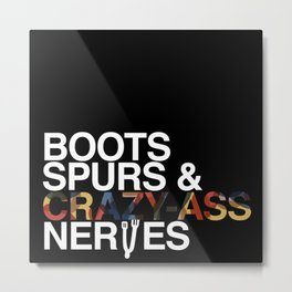 Boots 'n' Spurs [White] Metal Print