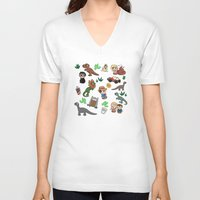 jurassic park V-neck T-shirts featuring Jurassic Park Bits by Lacey Simpson