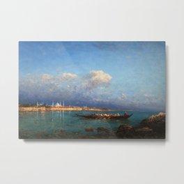 View of Hagia Sophia & Constantinople from the Marmara Sea maritime coastal landscape by Felix Ziem Metal Print