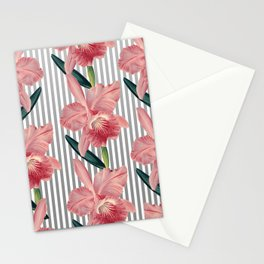 Pink Orchids And Grey Pinstripes Stationery Cards