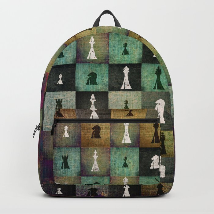 Paint and Print  Chessboard and Chess Pieces pattern Rucksack