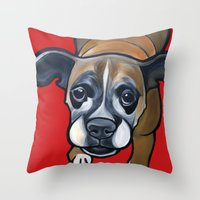 lucy Throw Pillows featuring Lucy by Pawblo Picasso
