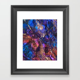Blue Rainbow Oil Slick Crystals Framed Art Print