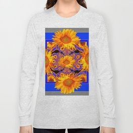 Golden Sunflowers Ornate Blue Patterns Long Sleeve T-shirt