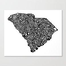 Typographic South Carolina Canvas Print