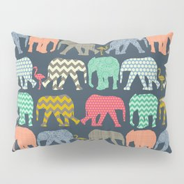 baby elephants and flamingos Pillow Sham