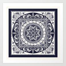 Navy Blue Mandala Art Print
