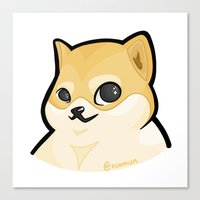 plain Canvas Prints featuring PLAIN DOGE by ocamixn