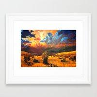 buffalo Framed Art Prints featuring Buffalo by Daniel Gonzalez