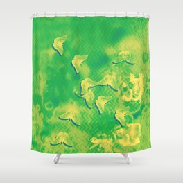 Yellow butterflies on textured green chevrons Shower Curtain