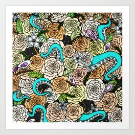 Octopus and Roses Pattern Art Print