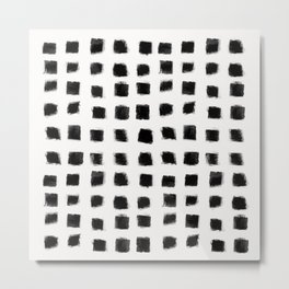 Polka Strokes - Black on Off White Metal Print