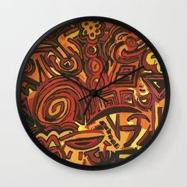 Orange Symbols Wall Clock