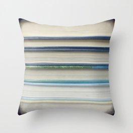Book stripes - blue Throw Pillow