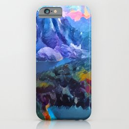 Abstract Landscape - Mountains and lakes iPhone Case