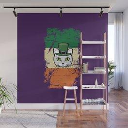 Irish Flag St Patrick Cat Leprechaun Purple Wall Mural