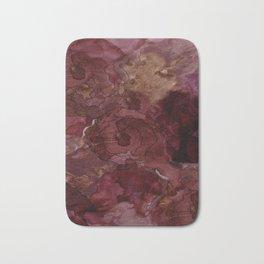Rose, Burgundy and Merlot Watercolor Flowers Bath Mat