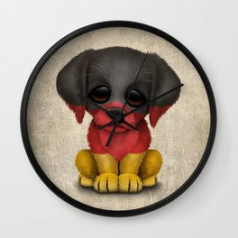 Cute Puppy Dog with flag of Germany Wall Clock