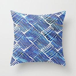 Blue Watercolor Streaks Throw Pillow