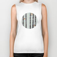 birds Biker Tanks featuring Robin Trees by Sandra Dieckmann