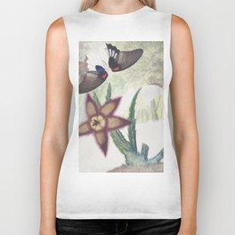 Moth and Flower Botanical Print Biker Tank