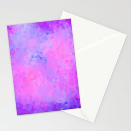 Pretty Pink and Purple Stained Glass Geometric Shape Modern Abstract Design Stationery Cards