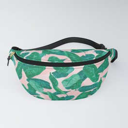 Banana Palm Leaves over Peach Fanny Pack