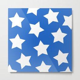 Cheerful Blue Star Print Metal Print