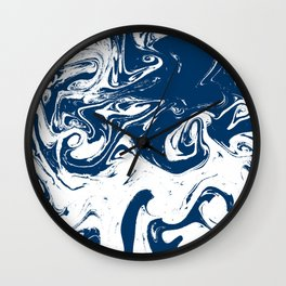 Hachiro - spilled ink abstract minimal modern watercolor marble painting marble pattern Wall Clock