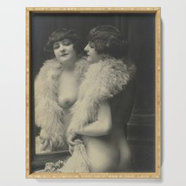 Victorian Vintage Posing Lady Erotic French Looking in Mirror Serving Tray